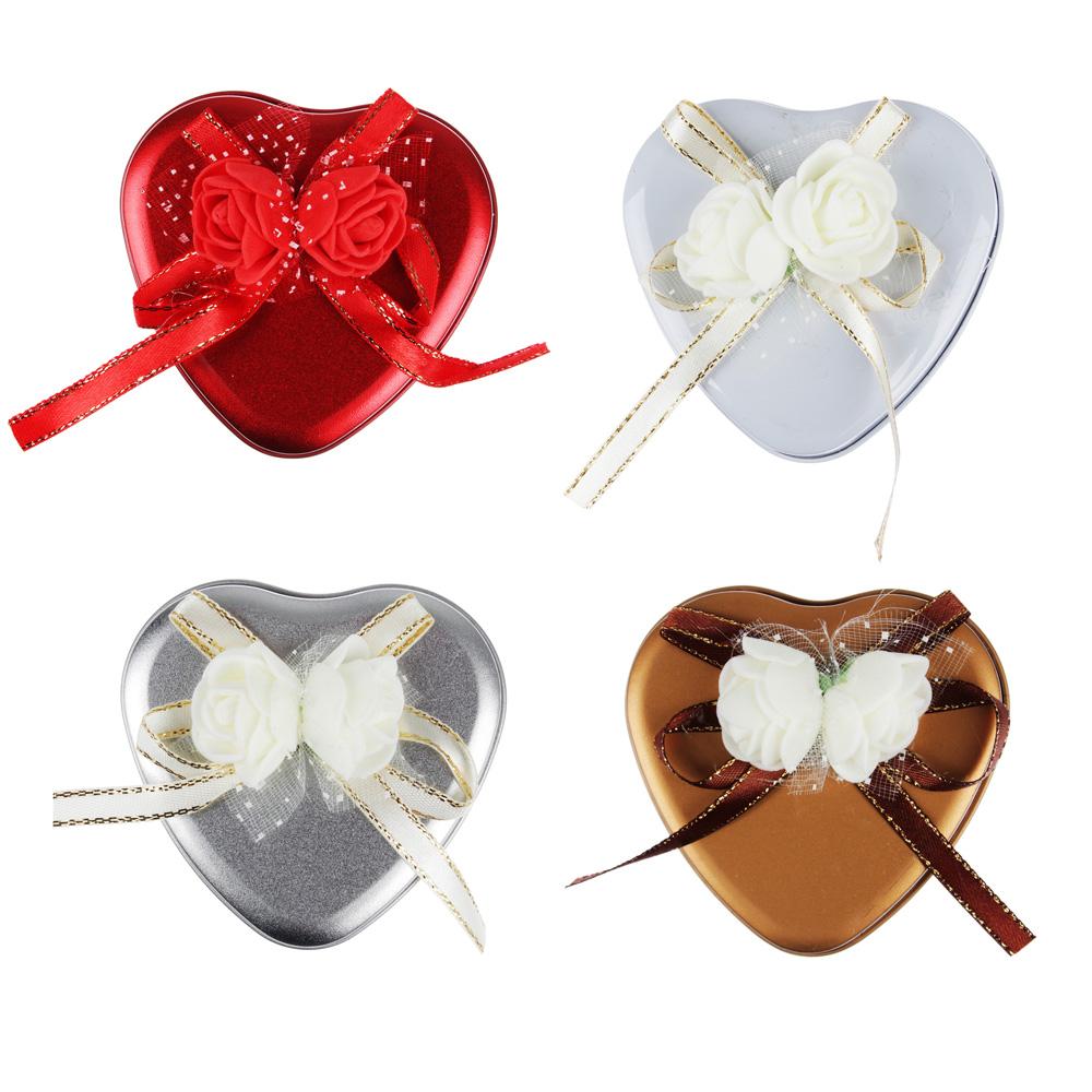Шкатулка с декором в виде сердечка 7х6,5х3,5 см, металл, полиэстер, 4 цвета