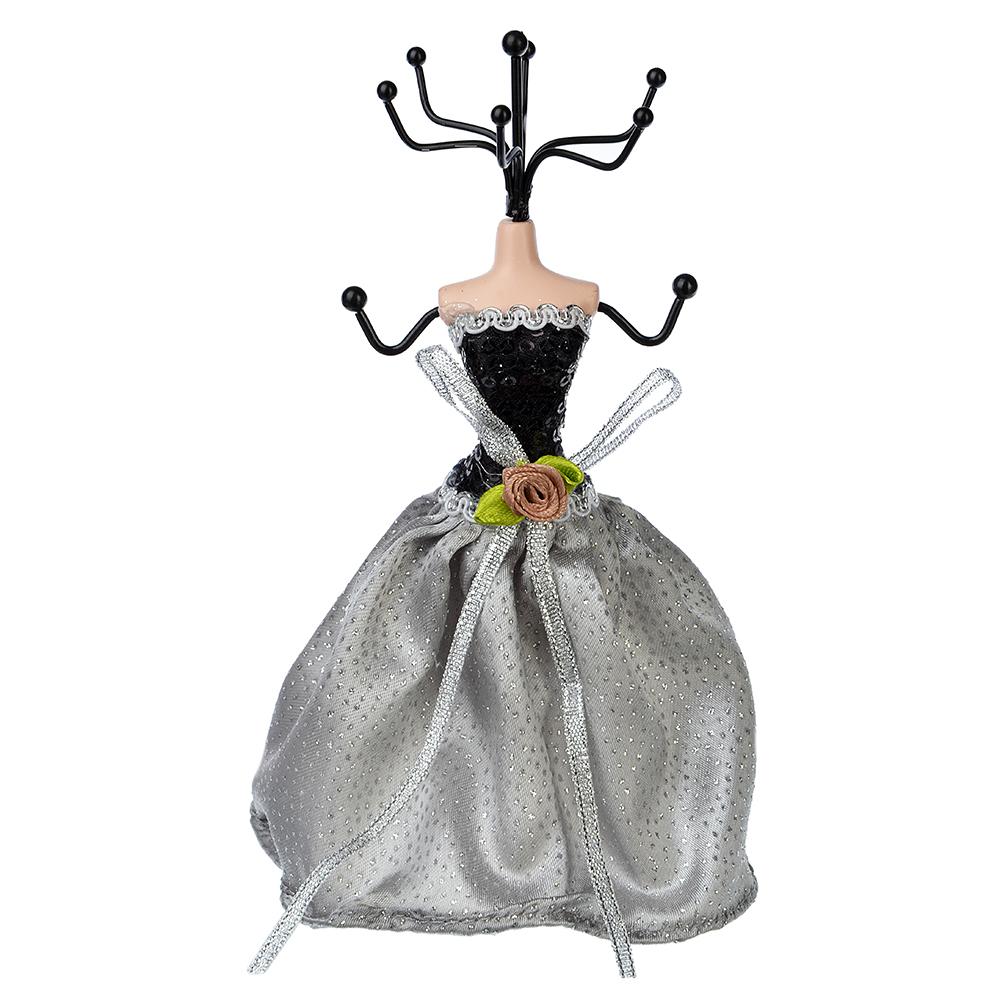 Подставка для ювелирных украшений в виде платья, 17 см, металл, полиэстер, 4 цвета