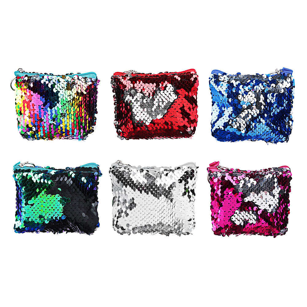 PAVO Сумочка для мелочи с пайетками, полиэстер, пластик, 11х8х3см, 6 цветов