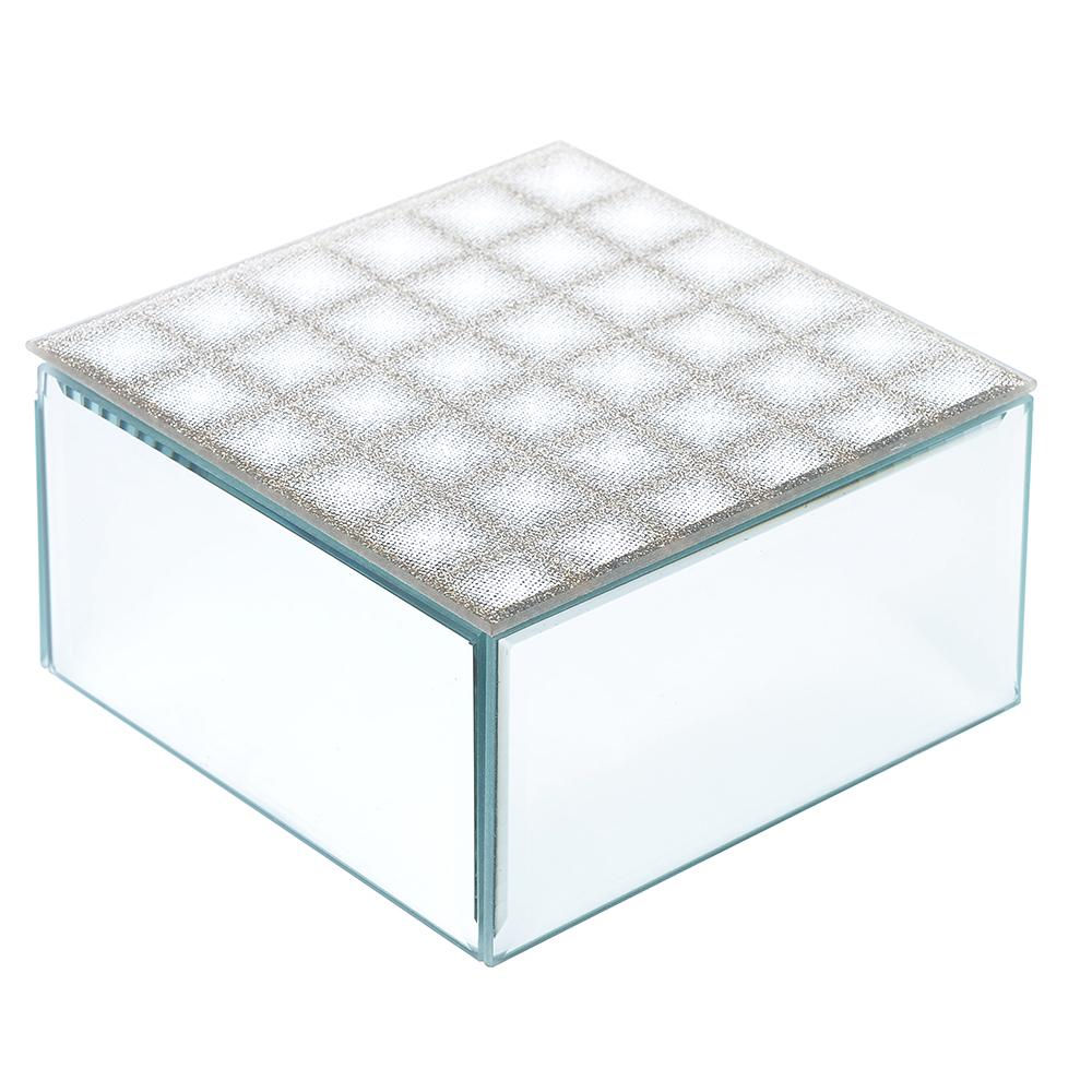 Шкатулка стеклянная 12х12х6,5 см, 2 цвета