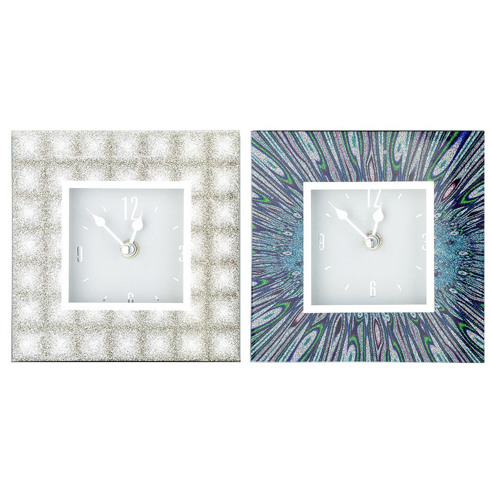 Часы настольные стеклянные, 14х14х3,5 см, 2 цвета, 1хАА