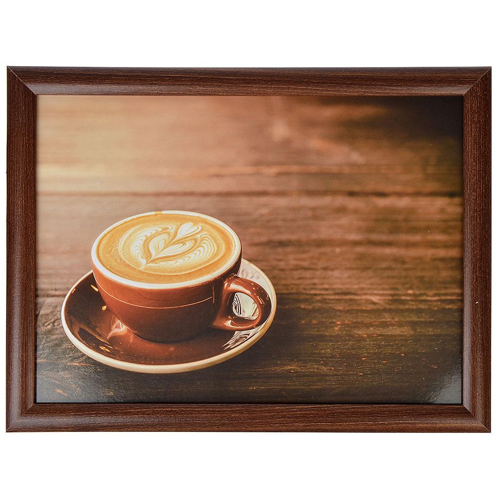 """Поднос на подушке, 43х32,5х6 см, МДФ, """"Чашка кофе"""""""