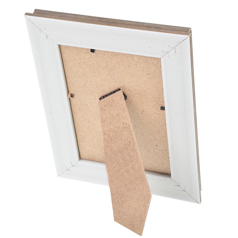 Фоторамка коричневая с белым, 10х15 см, МДФ, пластик