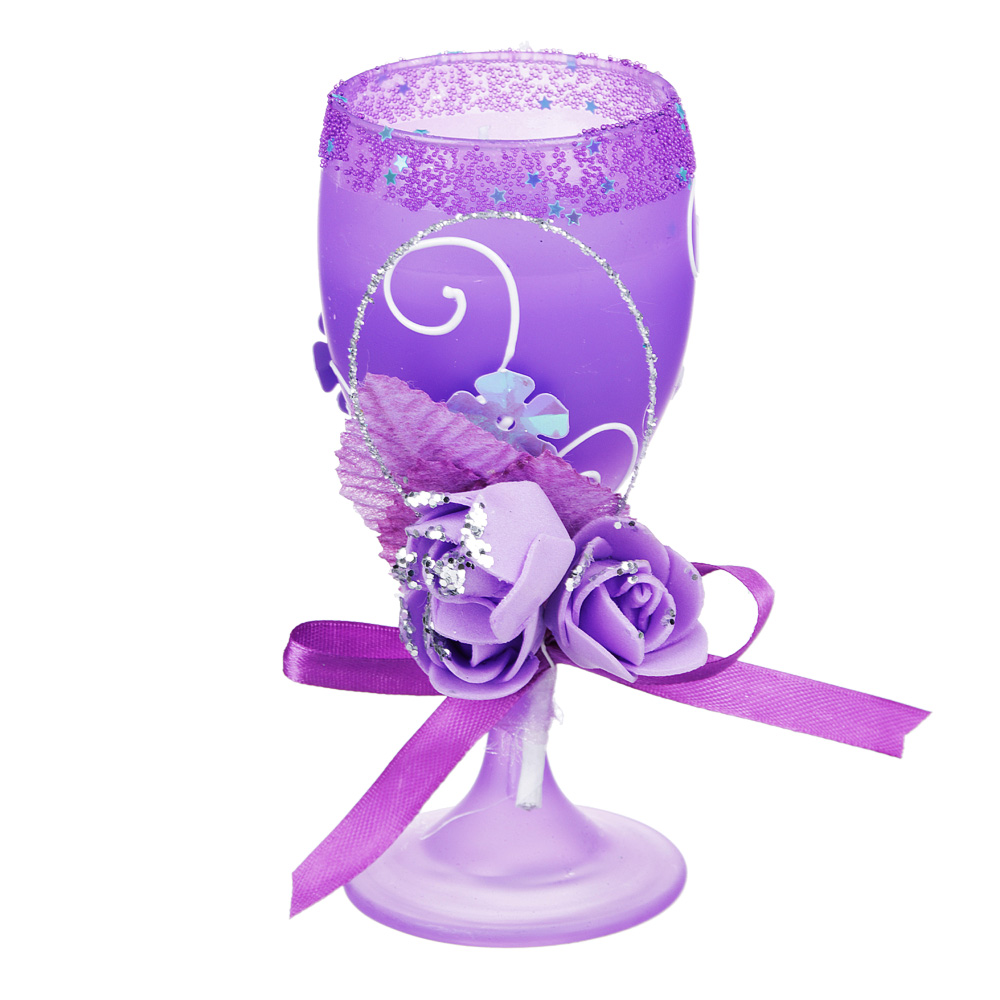 Свеча в стеклянном бокале с декором, фиолетовая, парафин, 16х8,5х8,5 см