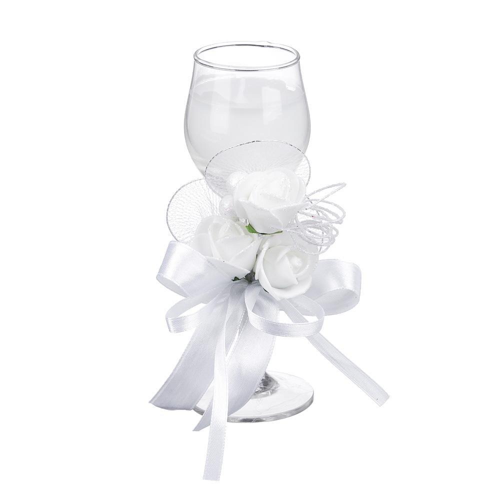 Свеча в стеклянном бокале с декором, парафин, 16х8,5х8,5 см, белая
