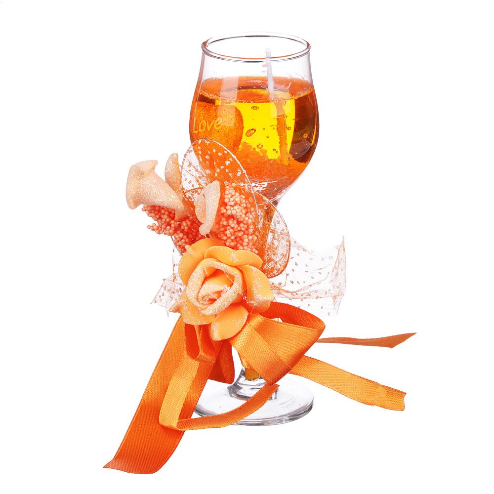 Свеча в стеклянном бокале с декором, парафин, 16х8,5х8,5 см, красно-оранжевая