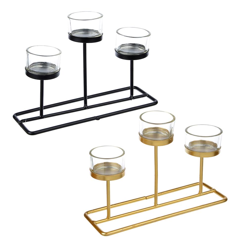 Подсвечник, металл, стекло, 22х7,5х15 см, 2 цвета
