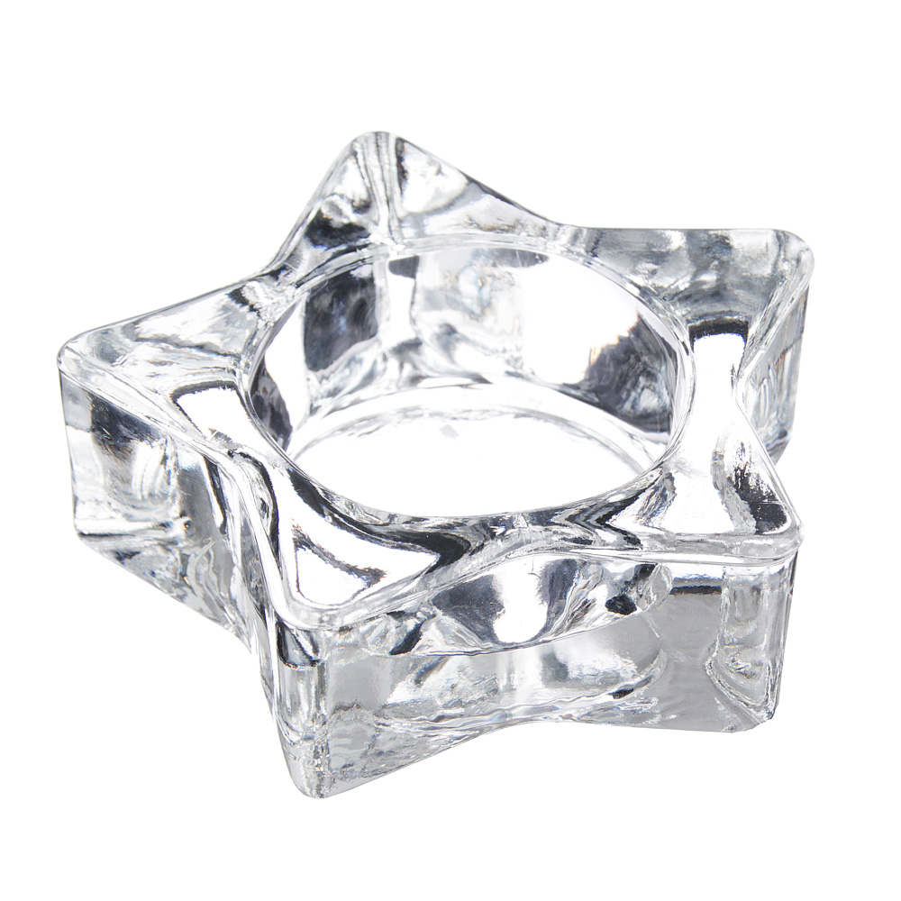 Подсвечник в форме звезды, стекло, 7,5х2,5 см
