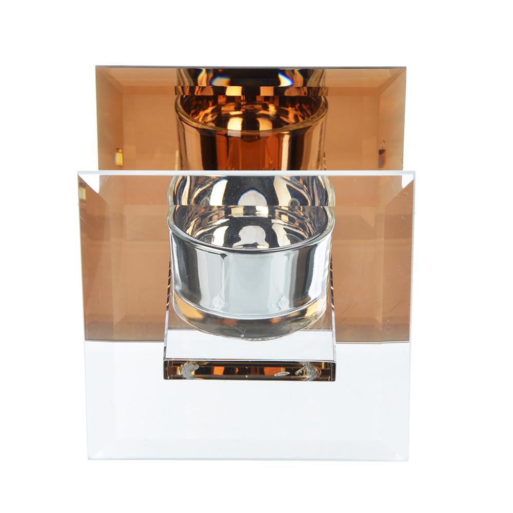 Подсвечник зеркальный квадрат, стекло, 10х10х8 см