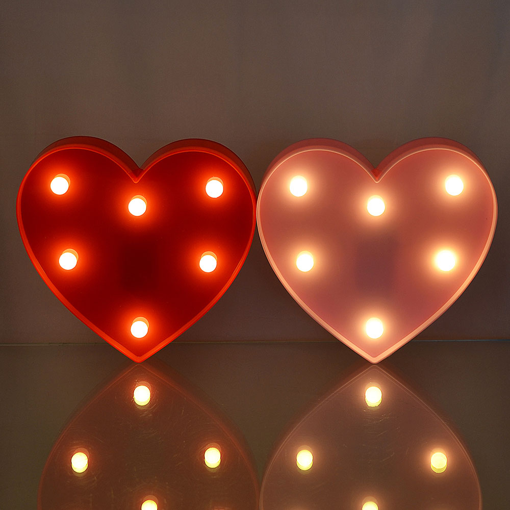 Светильник LED в виде сердечка, 2хАА, 2 цвета, 15х16,5х3 см
