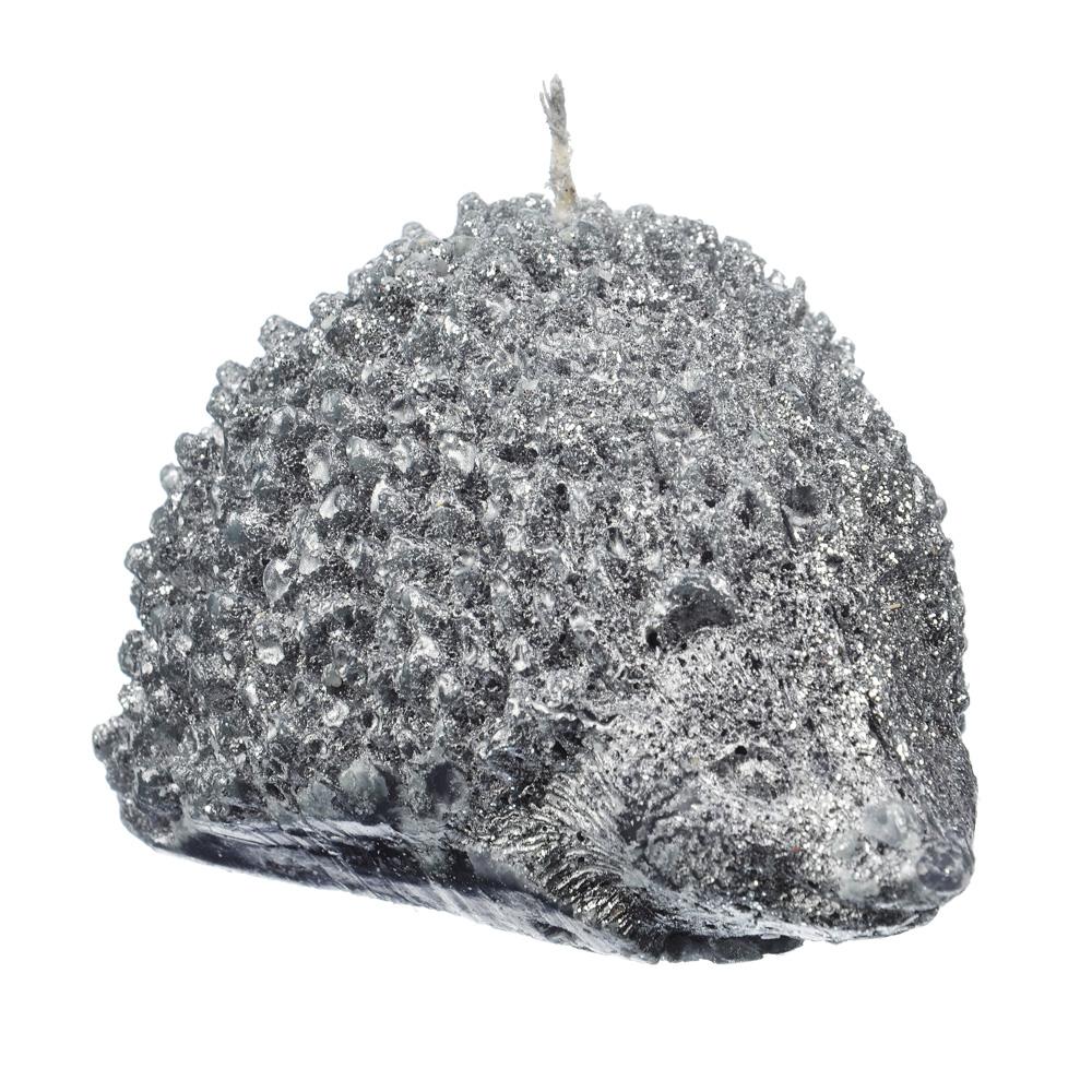 """Свеча """"Ёжик"""" парафиновая декоративная фигурная серебро с глиттером, 10,3х7,5х7 см"""