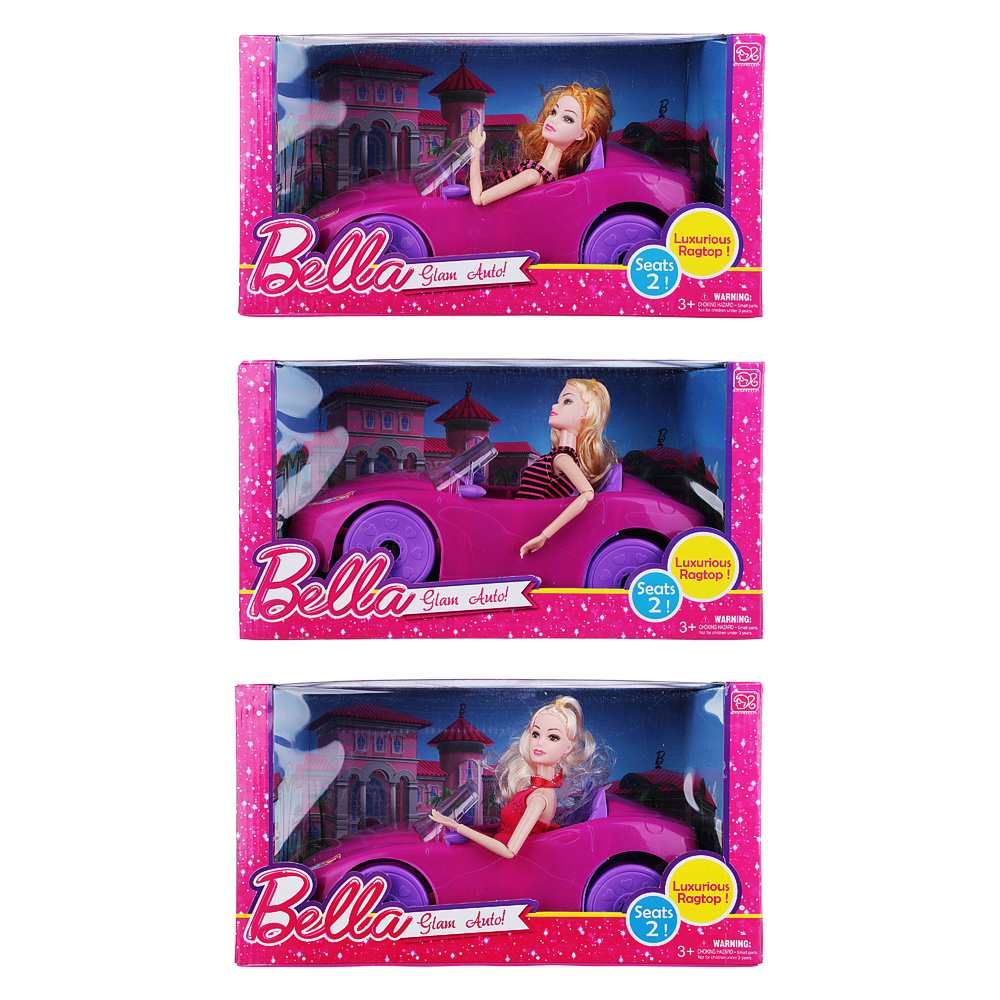 Кукла 29см в кабриолете, пластик, полиэстер, 36х24х9см