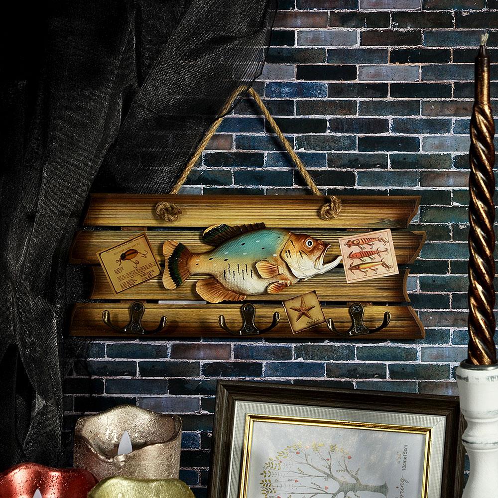 Ключница с изображением рыбы, три двойных крючка, МДФ, 30х12 см