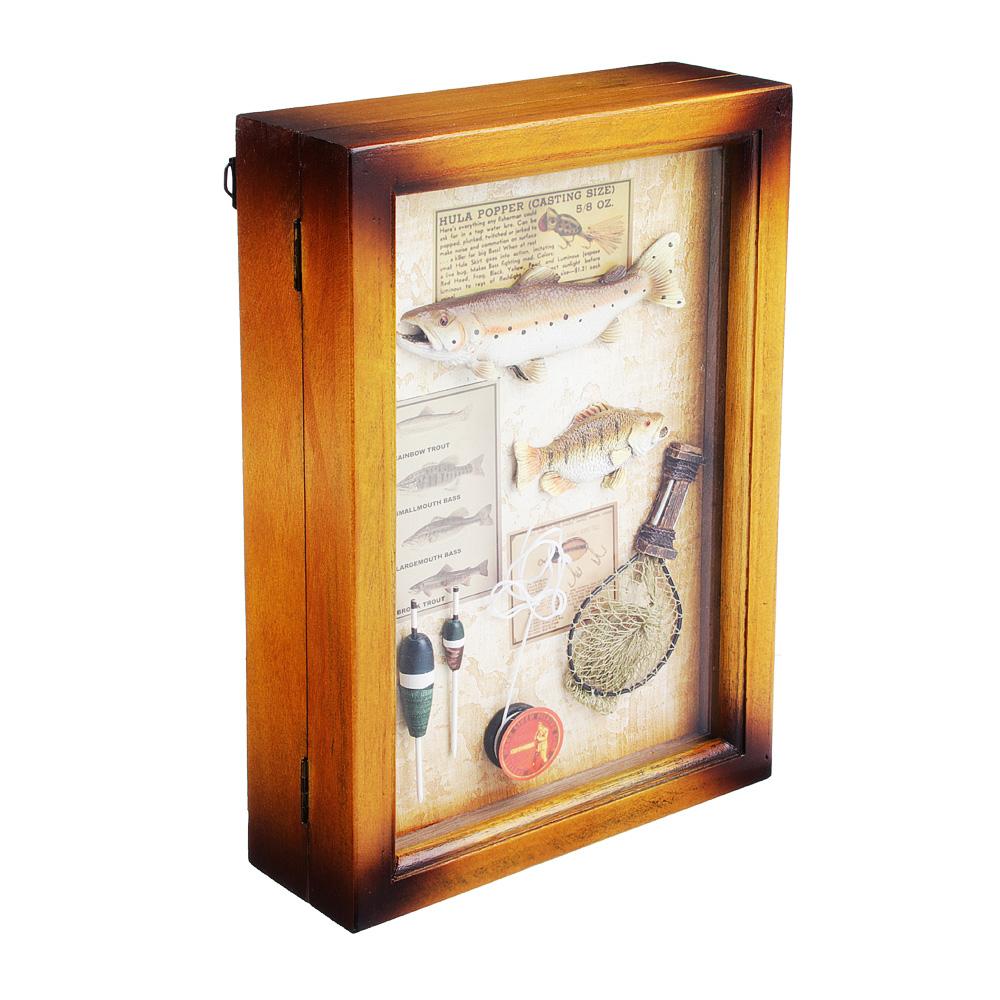 """Ключница """"Рыболов"""", 6 крючков, МДФ, стекло, 29х19,5х7см"""