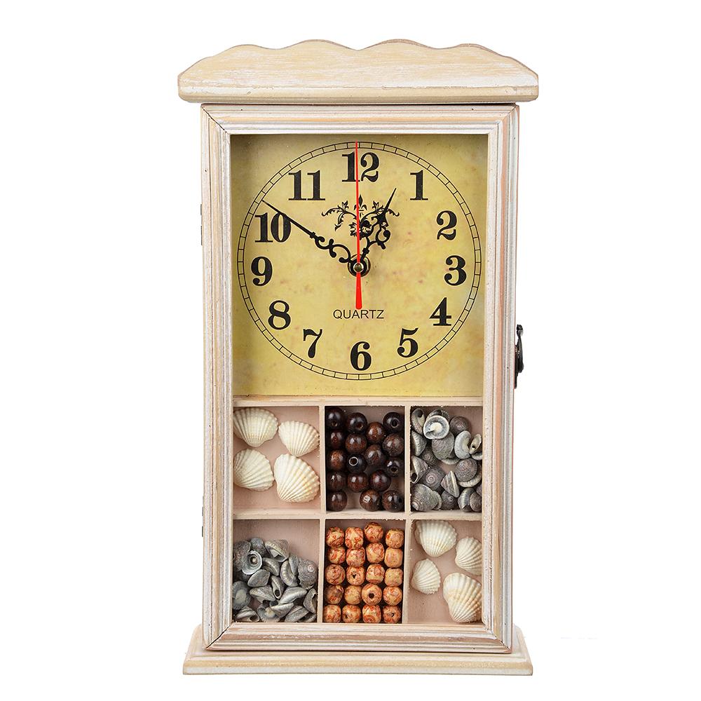 Ключница с часами, 1хАА, бежевая, 6 крючков, МДФ, 20,5х36,5х7,5 см, 2 дизайна
