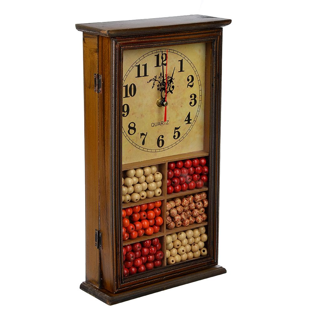 Ключница с часами, 1хАА, коричневая, 9 крючков, МДФ, 20,5х36,5х7,5 см,2 дизайна
