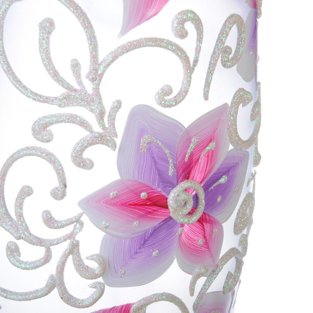 """PASABAHCE Ваза стеклянная, ручная роспись, """"Цветы"""", 25х9 см, 2 дизайна"""