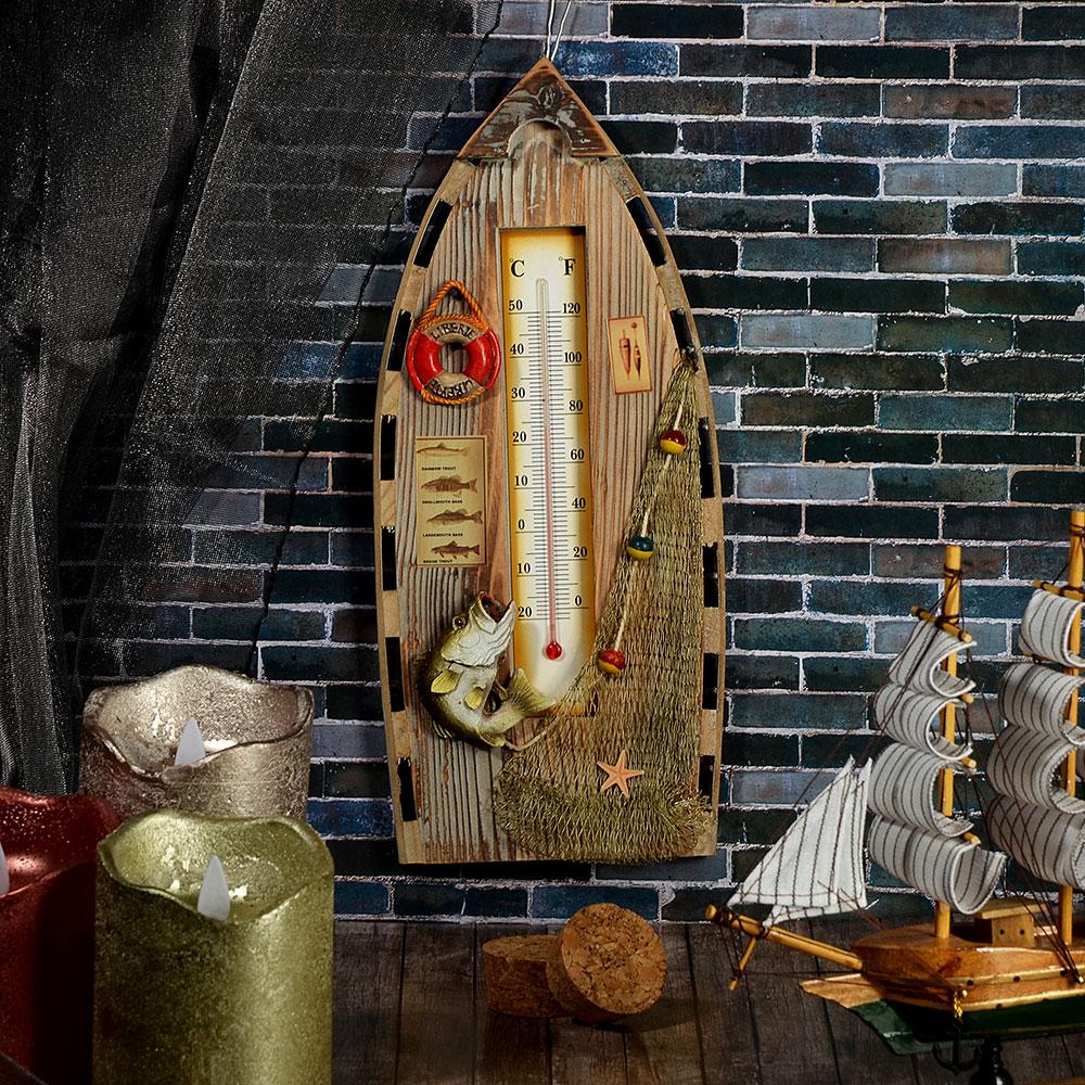 Декор настенный в виде лодки, с термометром, дерево, 31х13,7 см, 2 вида
