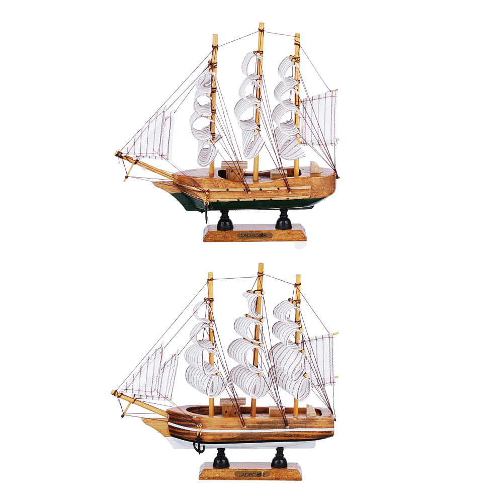 Корабль интерьерный, дерево, 22х21 см