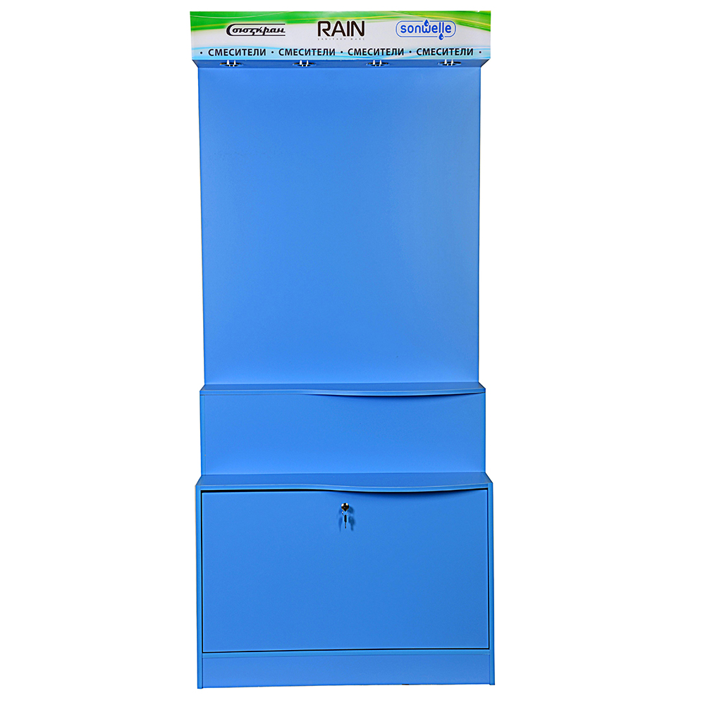 Стенд для смесителей ТН Rain, Sonwelle, Союзкран (дизайн 2018 г), цвет голубой