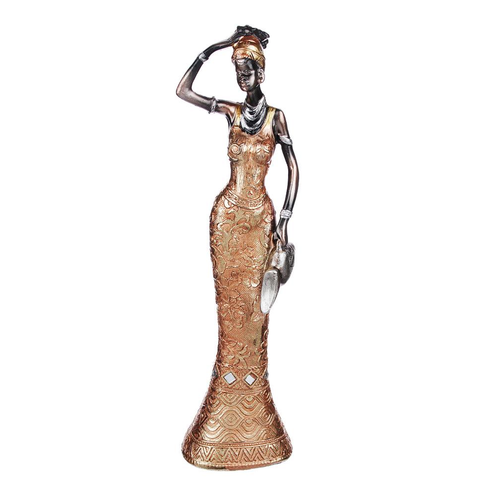 Статуэтка в виде африканки, 25х5х6,5 см, полистоун, 4 вида