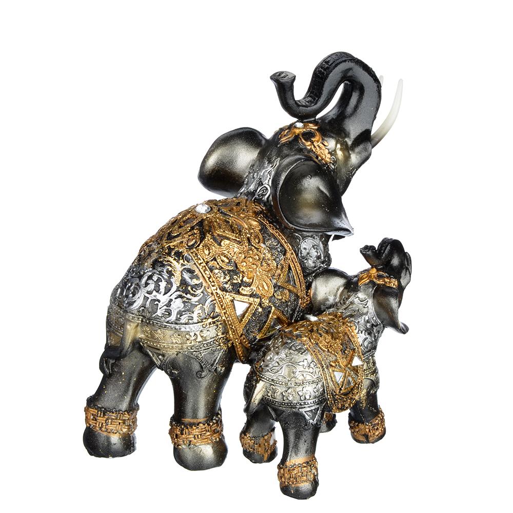 Фигурка в виде двух слонов, 13х8,5х15 см, полистоун, 2 вида