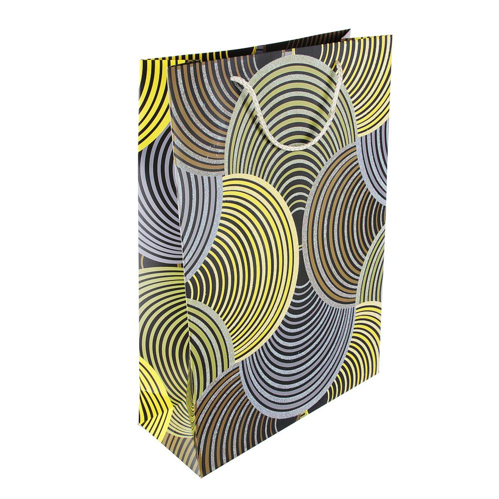 Пакет подарочный, высококачественная бумага, 31х44х12 см, круги, 4 цвета