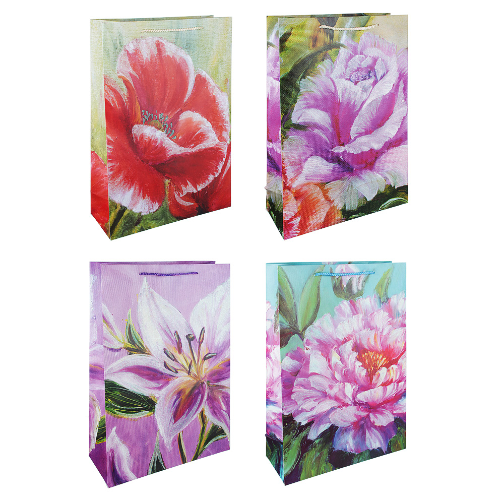 Пакет подарочный, высококачественная бумага, 31х44х12 см, цветные узоры, 4 цвета