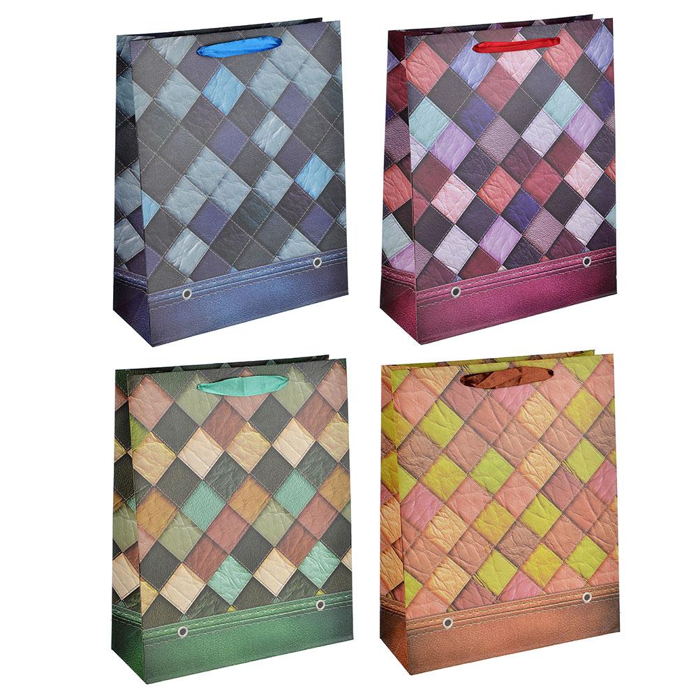 Пакет подарочный, высококачественная бумага, 26х32х10 см, ромбы, 4 цвета