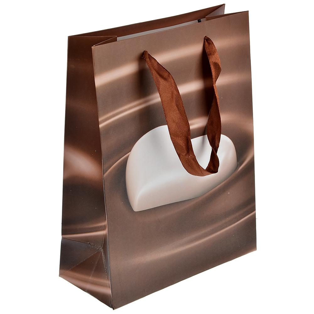 Пакет подарочный, высококачественная бумага, 18х24х8,5 см, сердце в шоколаде, 4 цвета
