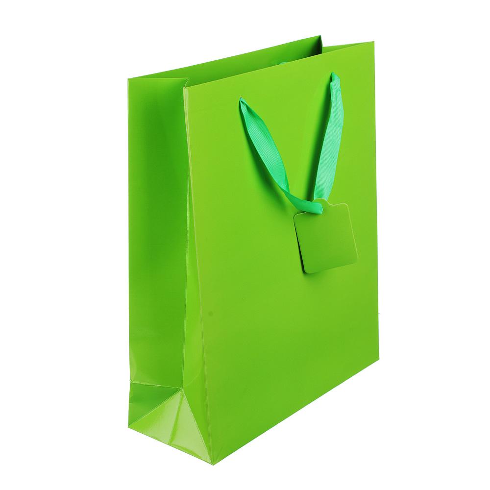 Пакет подарочный однотонный, высококачественная бумага, 26х32х10 см, 4 цвета