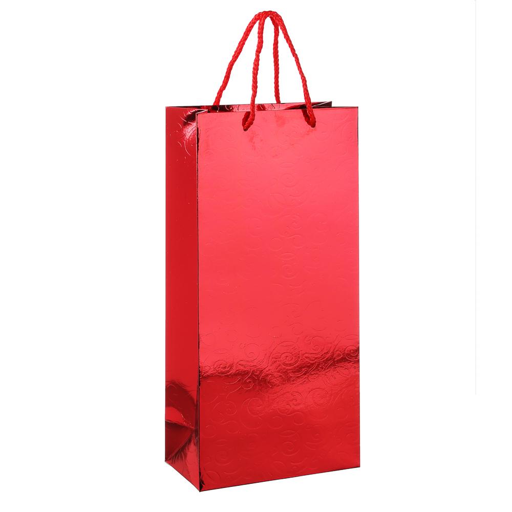 Пакет подарочный, вензеля, высококачественная бумага с фолдингом, 17х35х9 см, 3 цвета
