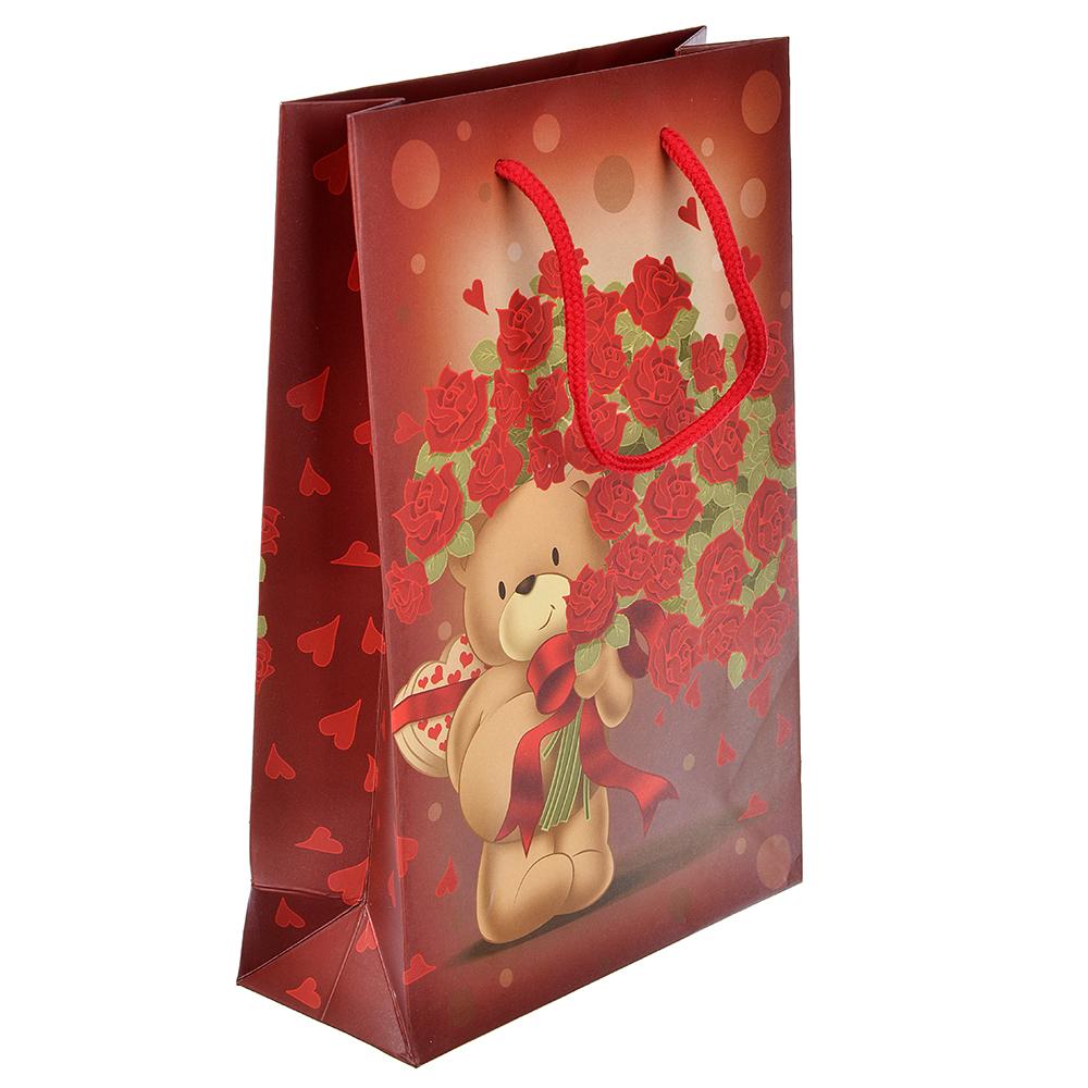 Пакет подарочный, высококачественная бумага, 17,3х25,5х7 см, мишки с букетами, 6 цветов