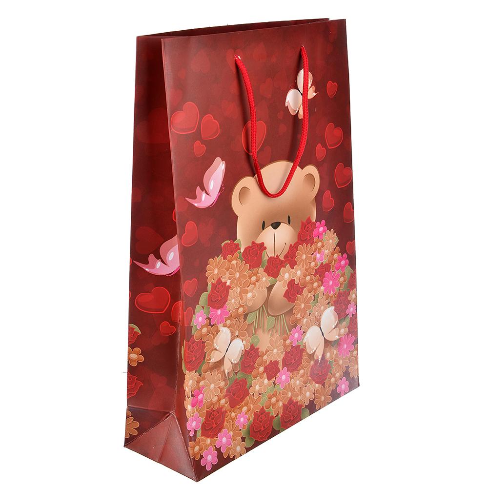 Пакет подарочный, высококачественная бумага, 25х37х9 см, мишки с букетами, 6 цветов