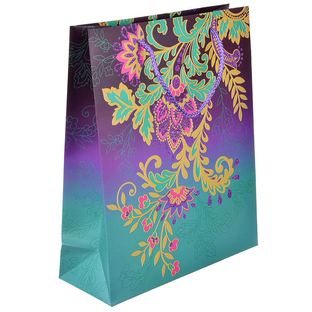 Пакет подарочный, высококачественная бумага с фолдингом, 26х32х10 см, узоры, 4 цвета