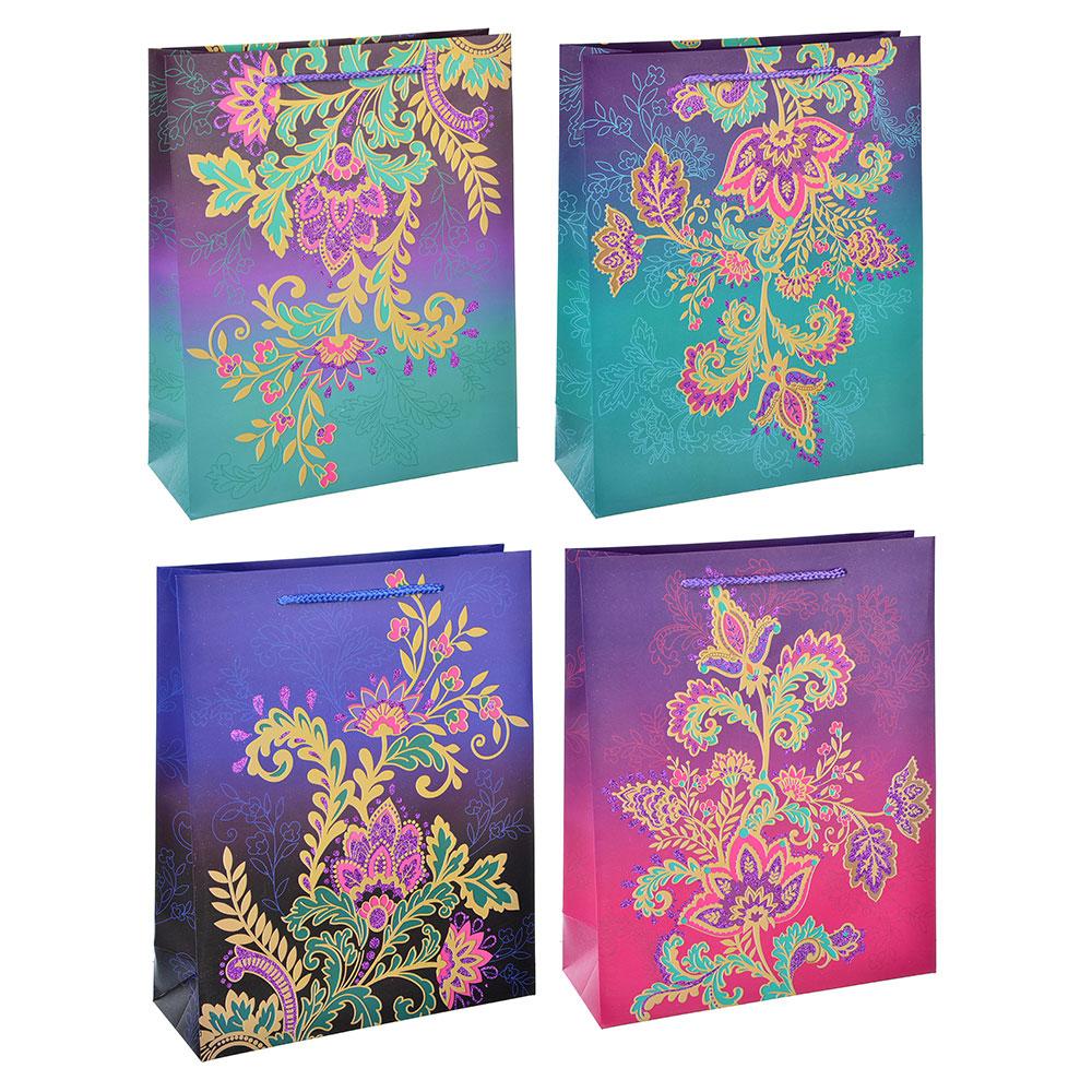 Пакет подарочный, высококачественная бумага с фолдингом, 18х23х8 см, узоры, 4 цвета