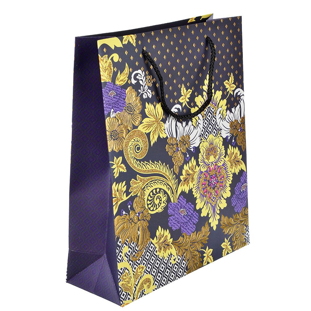 Пакет подарочный, высококачественная бумага с глиттером, 26х32х10 см, 4 цвета