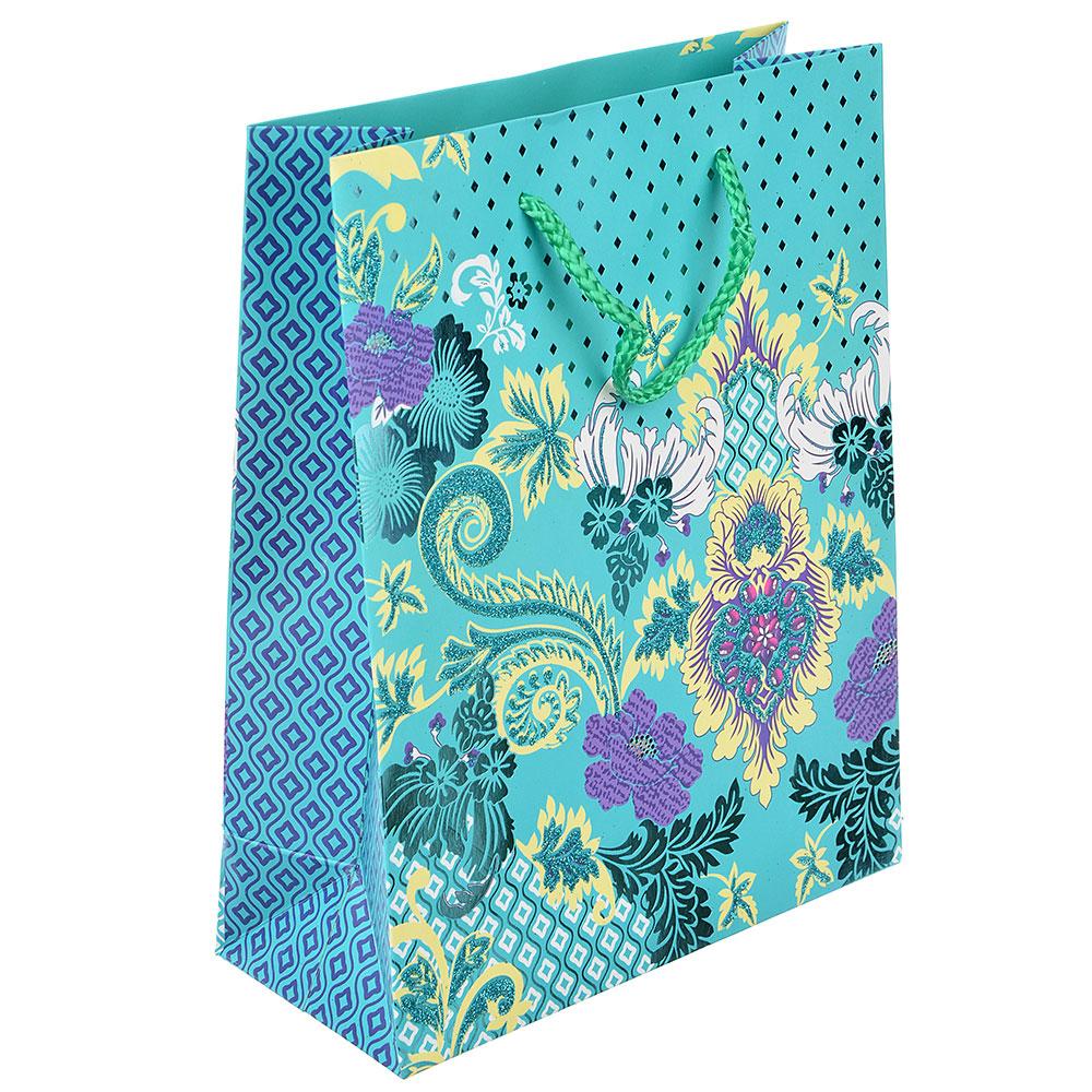 Пакет подарочный, высококачественная бумага с глиттером, 18х23х8 см, 4 цвета