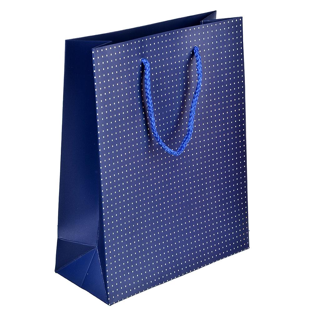 Пакет подарочный, высококачественная бумага с фолдингом, 18х23х8 см, красный и синий, 2 цвета
