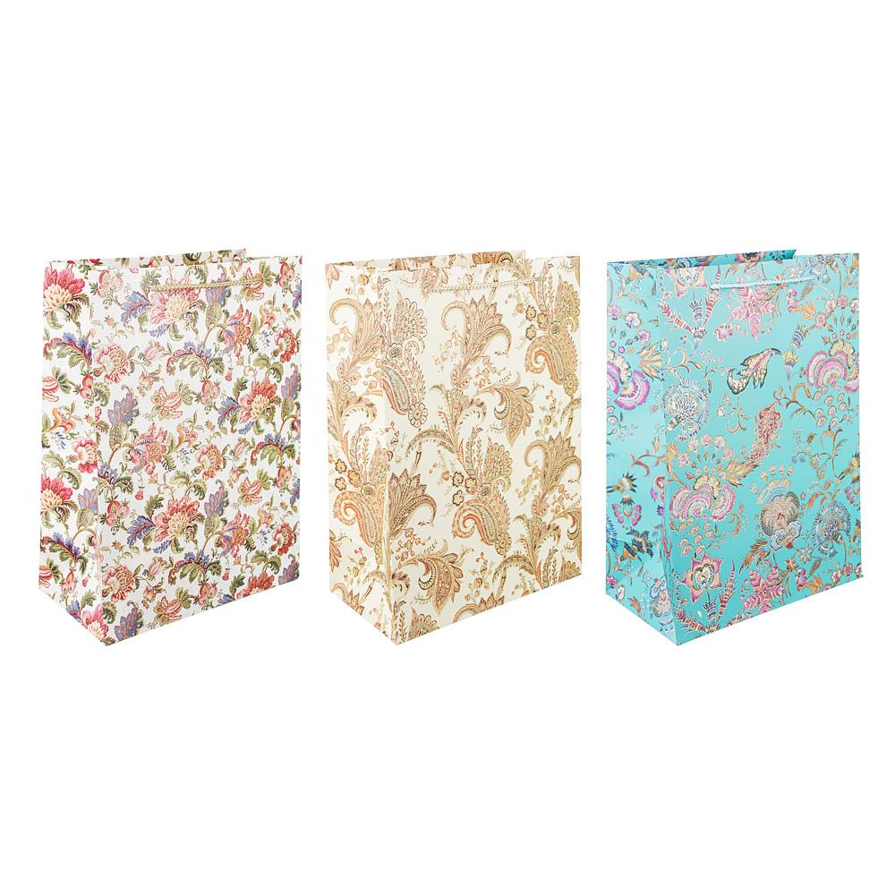 Пакет подарочный, высококачественная бумага с фолдингом, 26х36х14 см, узоры, 3 цвета