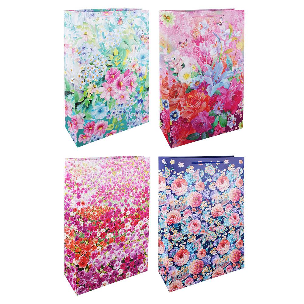 Пакет подарочный, высококачественная бумага, 35х53х14 см, цветочный рисунок, 4 цвета