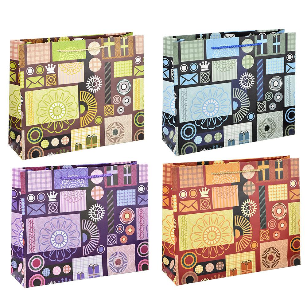Пакет подарочный, высококачественная бумага с глиттером, 32х26х10 см, орнаменты, 4 цвета
