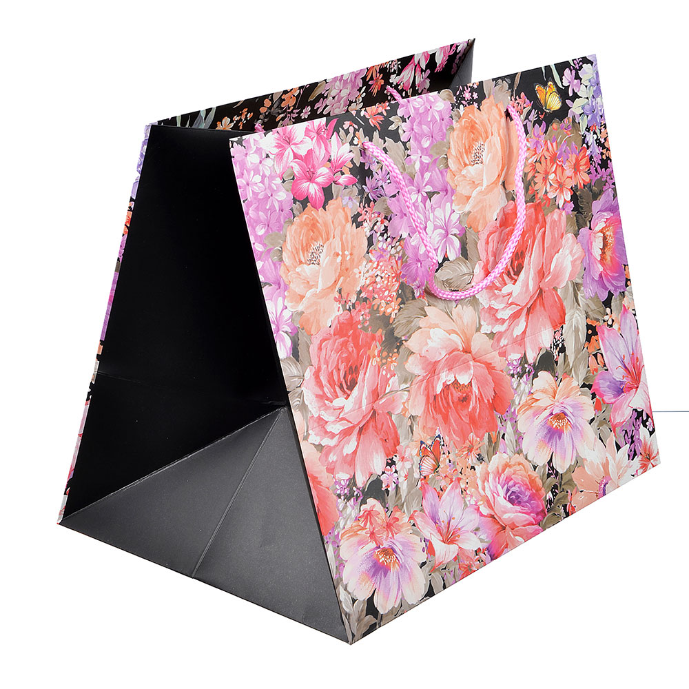 Пакет подарочный, высококачественная бумага, 37х31х26 см, цветы, 4 цвета