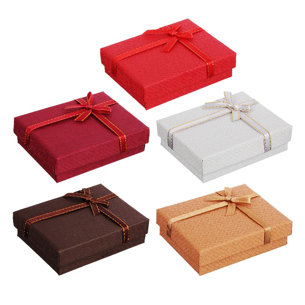 Коробка подарочная с бантом, 7х9х2,5 см, 6 цветов