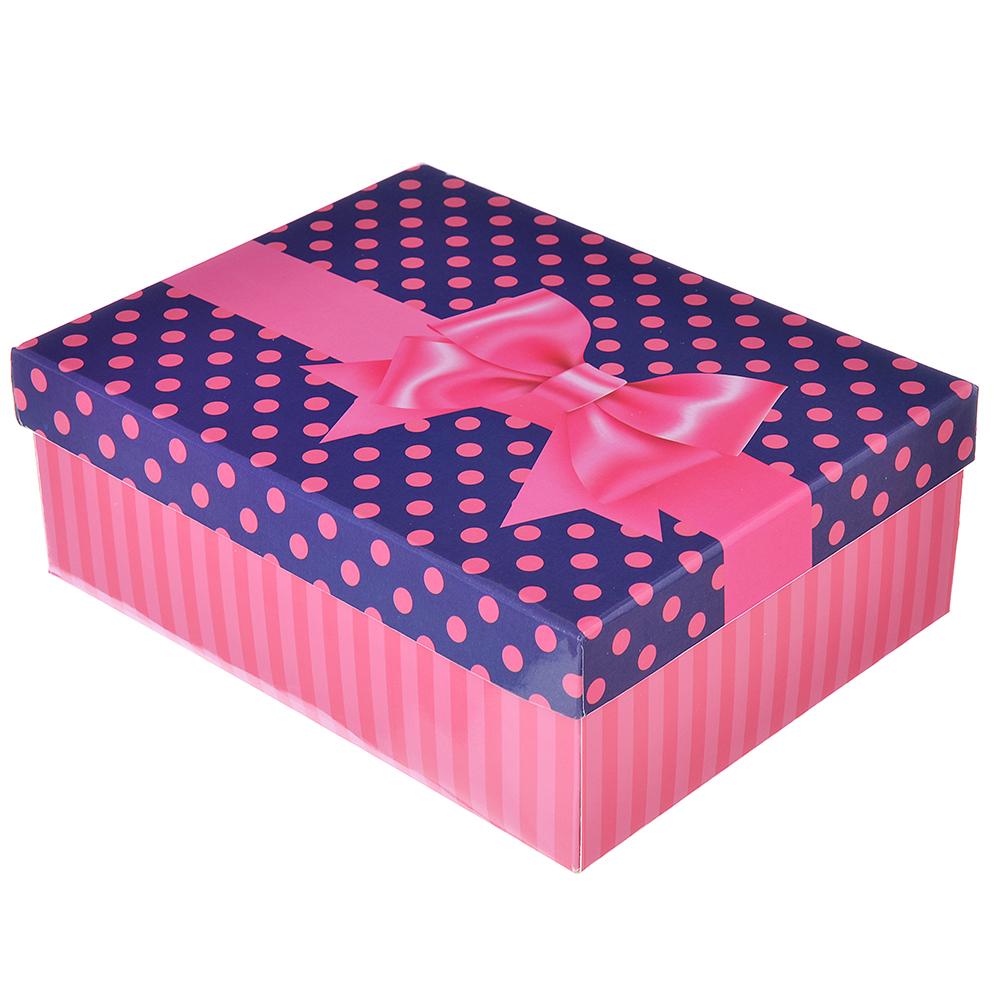 Коробка подарочная складная, бумага, 5 цветов (21х16х7,5 см)