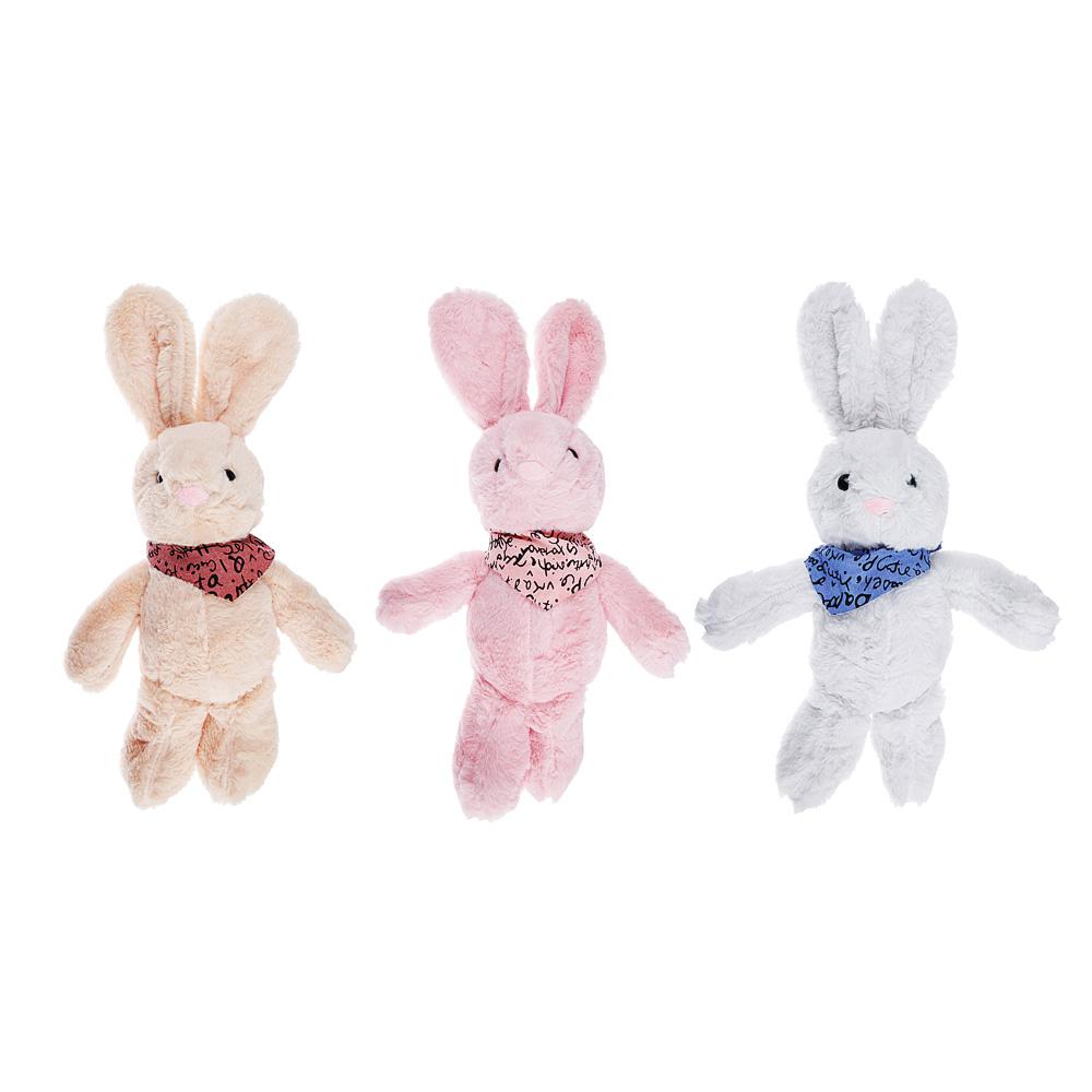МЕШОК ПОДАРКОВ Мягкая игрушка в виде Зайчика с косынкой, 27см, полиэстер, 3-4 цвета
