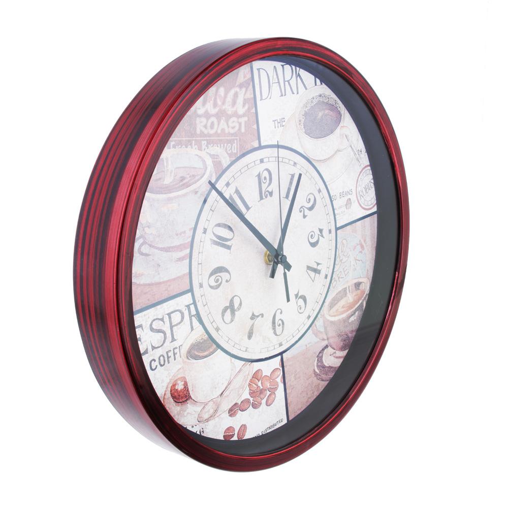 Часы настенные, с кофе, пластик, 30 см, 1хАА