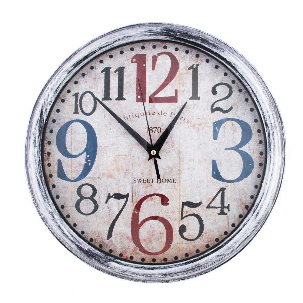 Часы настенные, крупные цифры, пластик, 33,5 см, 1хАА