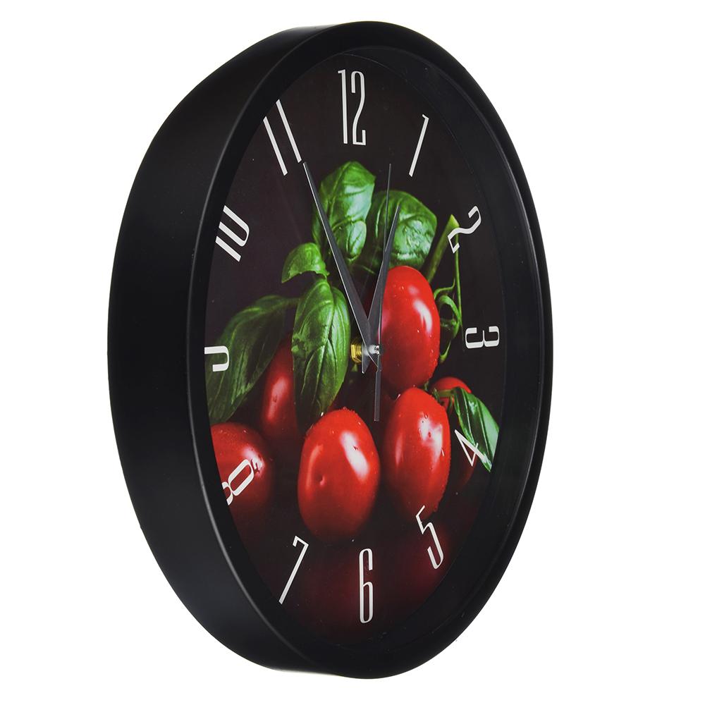 """Часы настенные, пластик, 30 см, 1хАА, 2 цвета, """"Помидоры и базилик"""""""