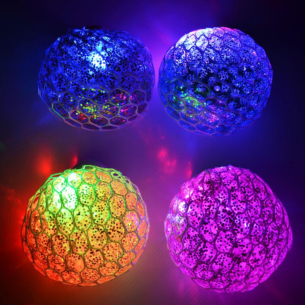 Мялка с блестками, свет, полимер, 6см, 2-4 цвета